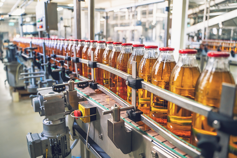 bottle packing in factory